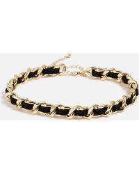 Missguided - Gold Look Leather Chain Choker - Lyst