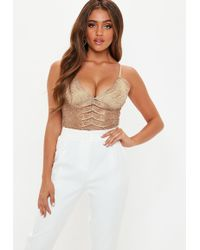 Missguided - Nude Metallic Lace Cami - Lyst