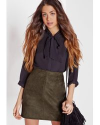 Missguided - Faux Suede Mini Skirt Khaki - Lyst