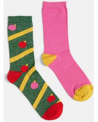 Missguided - Green 2 Pack Tinsel Xmas Socks - Lyst