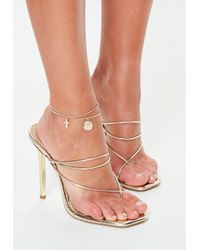 Missguided - Gold Look Double Row Coin Cross Anklet - Lyst