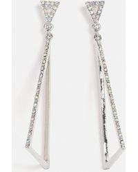 Missguided - Silver Triangle Diamante Earrings - Lyst