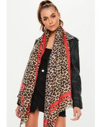 Missguided - Red Trim Leopard Print Scarf - Lyst