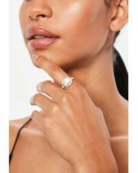 Missguided - Silver Square Diamante Detail Ring - Lyst