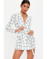 Missguided - Petite White Grid Print Blazer Dress - Lyst