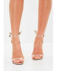 Missguided - Rose Gold Perspex Character Back Heels - Lyst