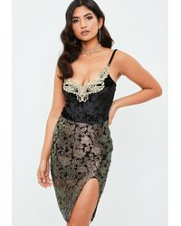 Missguided - Black Crushed Velvet Embroidered Bodysuit - Lyst