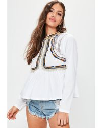 Missguided - White Embroidered Peplum Blouse - Lyst