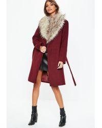 Missguided - Burgundy Faux Fur Collar Coat - Lyst