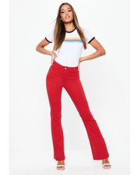 Missguided - Red High Waisted Flare Jeans - Lyst