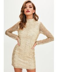 Missguided - Gold Beaded Sequin Bodycon Dress - Lyst
