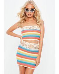 Missguided - Cream Stripe Knitted Crochet Mini Skirt - Lyst