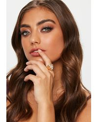 Missguided - Gold Look Lion Head Ring - Lyst