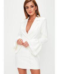 Missguided - White Frill Sleeve Blazer Dress - Lyst