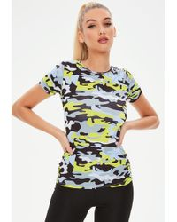 Missguided - Active Green Performance Camo T-shirt - Lyst