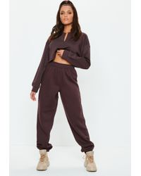 Missguided - Petite Brown 80s Brush Back Joggers - Lyst