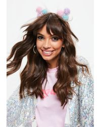 Missguided - Festival Pom Pom Ear Multi Colour Headband - Lyst