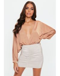 Missguided - Camel Batwing Long Sleeve Bodysuit - Lyst