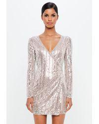 Missguided - Peace + Love Silver Embellished Stripe Wrap Mini Dress - Lyst