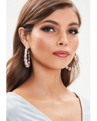 Missguided - Silver Ball Hooped Earrings - Lyst