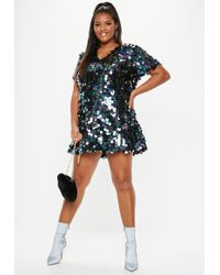 Missguided - Plus Size Black V Neck Sequin T Shirt Dress - Lyst