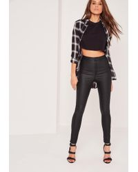 Missguided - Black Vice High Waisted Coated Skinny Jeans - Lyst