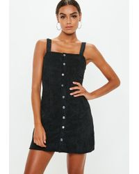 Missguided - Black Corduroy Popper Front Pini Dress - Lyst