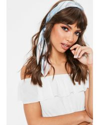 Missguided - Blue Contrast Print Scarf - Lyst