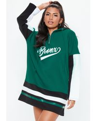 Missguided - Green Oversized Slogan Hooded Jumper Dress - Lyst