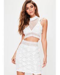 Missguided - White Floral Applique 3d Lace Mini Skirt - Lyst