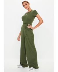 Missguided - Khaki Ribbed Short Sleeve Wide Leg Jumpsuit - Lyst