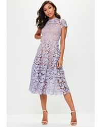 Missguided - Purple Short Sleeve Lace Midi Skater Dress - Lyst