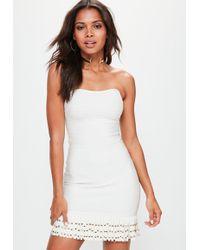 Missguided - White Bandeau Bandage Tassle Hem Bodycon Dress - Lyst