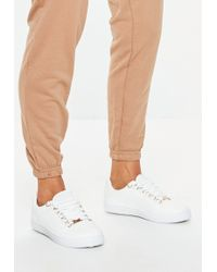 Missguided - White Wide Lace Up Basic Sneakers - Lyst
