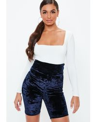 Missguided - Navy Deep Panel Crushed Velvet Cycling Shorts - Lyst
