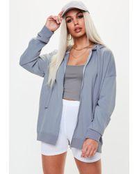 Missguided - Blue Oversized Zip Through Hoodie - Lyst