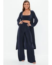 Missguided - Navy Slinky 3 Piece Co Ord Set - Lyst