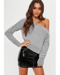 Missguided - Grey Chenille Off Shoulder Knitted Jumper - Lyst