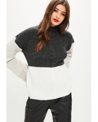Missguided - Grey Colour Block High Neck Flare Sleeve Jumper - Lyst
