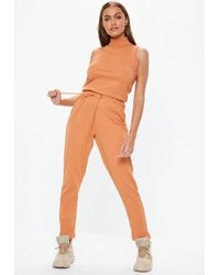 17aba8430b Lyst - Noisy May Tall Roll Neck Sleeveless Jersey Jumpsuit With Tie ...