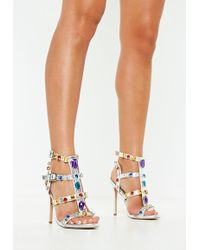 1281580f5d618a Missguided - Silver Multi Jewel Embellished Gladiator Sandals - Lyst
