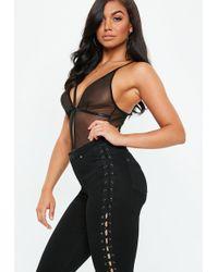 Missguided - Black Deep V Harness Bodysuit - Lyst