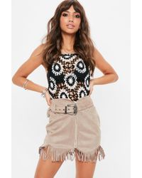 Missguided - Nude Faux Suede Belted Stud Detail Tassel Skirt - Lyst