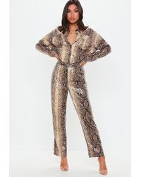 Missguided - Brown Snake Print Shiny Wide Leg Trousers - Lyst