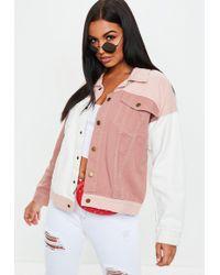Missguided - Nude Colour Block Oversized Denim Jacket - Lyst