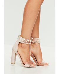 Missguided - Pink Pearl Strap Velvet Sandal Heels - Lyst