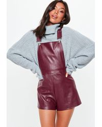 Missguided - Burgundy Faux Leather Pinafore Playsuit - Lyst