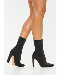 Missguided - Black Illusion Heel Sock Ankle Boots - Lyst