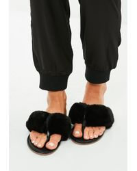 Missguided - Black Faux Fur Toe Post Sandals - Lyst