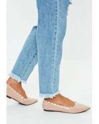 Missguided - Nude Studded Ballerina Flat Shoes - Lyst
